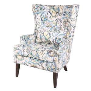 Clementine KD Fabric Wing Arm Chair Wenge Legs, Mazarine Paisley