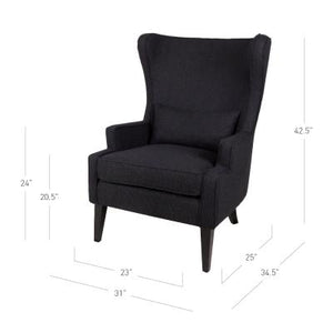 Clementine KD Fabric Wing Arm Chair Black Legs, Onyx