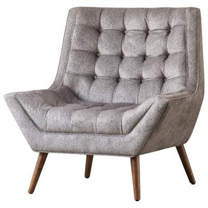Oxford KD Fabric Tufted Accent Chair, Tweed Gray