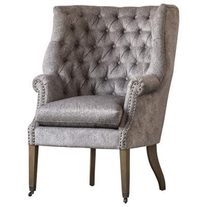 Kingsley Fabric Nailhead Tufted Wing Arm Chair, Tweed Gray