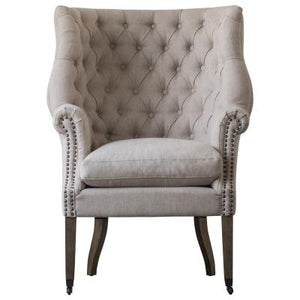 Kingsley Fabric Nailhead Tufted Wing Arm Chair, Sand
