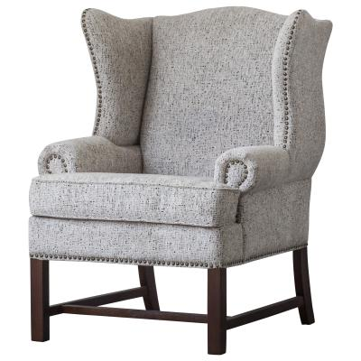 Ellery Fabric Nailhead Accent Chair, Drizzle Gray