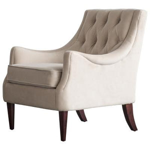Marlene KD Velvet Fabric Tufted Accent Chair, Buckwheat Beige