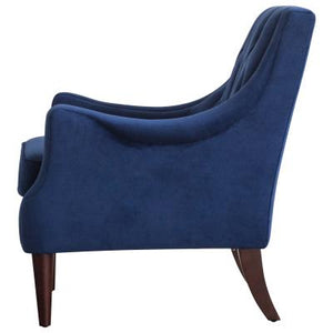 Marlene KD Velvet Fabric Tufted Accent Chair, Navy Blue