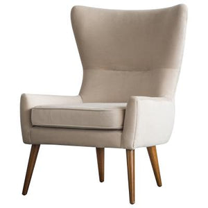 Arya KD Velvet Fabric Chair Wooden Legs, Buckwheat Beige