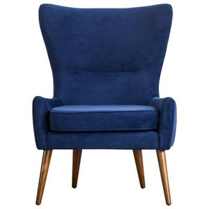 Arya KD Velvet Fabric Chair Wooden Legs, Navy Blue