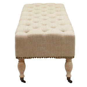 Madeline Tufted Bench, Flax