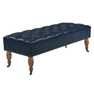 Madeline Bonded Leather Tufted Bench, Vintage Blue