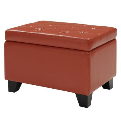 Julian Rectangular Bonded Leather Storage Ottoman, Pumpkin