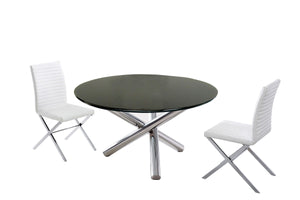 Modrest Frau - Black Glass Modern Round Dining Table