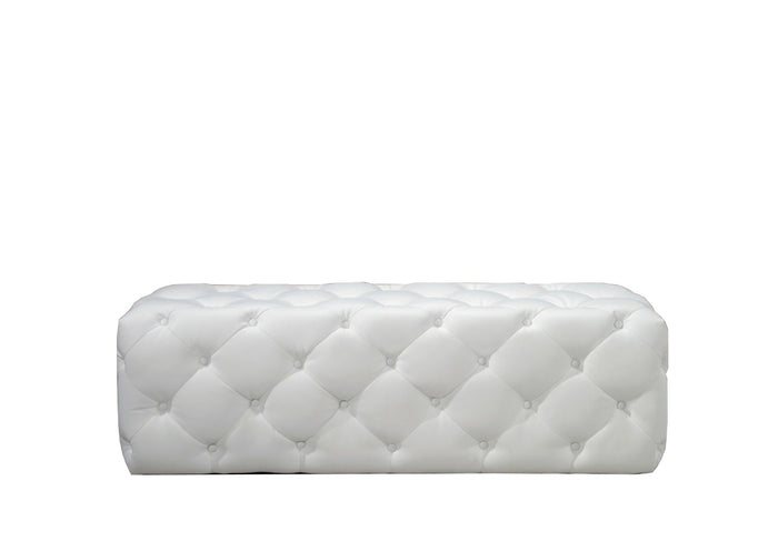 Divani Casa Maria Modern White Eco-Leather Lounge Bench