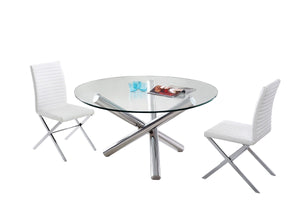 Modrest Frau - Clear Glass Modern Round Dining Table