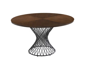 Modrest Theresa Modern Round Walnut & Black Dining Table