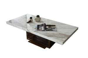 Modrest Kingsley Modern Marble & Rosegold Coffee Table