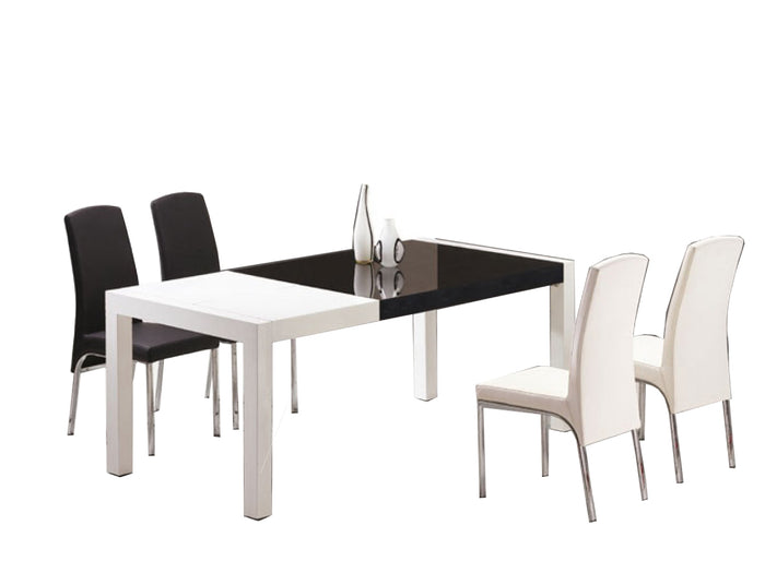 Modrest T062 Combi White and Black Lacquer Dining Table