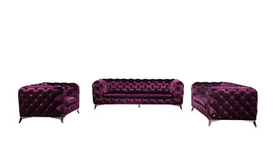 Divani Casa Delilah Modern Purple Fabric Velvet Sofa Set