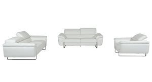 David Ferarri Highline Italian Modern White Top Grain Leather Sofa Set