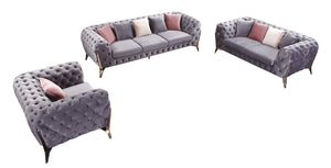 Divani Casa Seward Transitional Grey Velvet Sofa Set