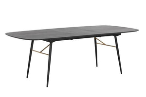 Modrest Billy Modern Black Oak & Gold Extendable Dining Table