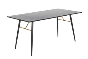 Modrest Billy Modern Black Oak & Gold Dining Table