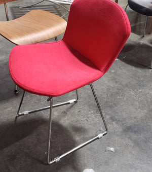 Bertoia Style Red Fabric Chair (FLOOR MODEL - MUST PURCHASE FROM SHOWROOM)