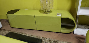 W CITY TOUCH GREEN LACQUER MODERN TV STAND (FLOOR MODEL - MUST PURCHASE FROM SHOWROOM)