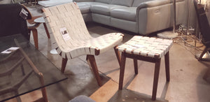 Risom Replica White Lounge Chair + Ottoman (FLOOR MODEL - MUST PURCHASE FROM SHOWROOM)