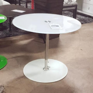 Euro Style White Frosted Glass End Table (FLOOR MODEL - MUST PURCHASE FROM SHOWROOM)
