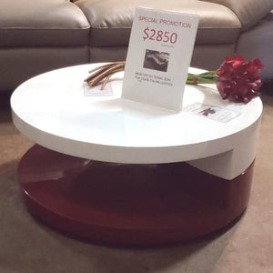 Euro Style Sybil Swivel Coffee Table in White & Red High Gloss (FLOOR MODEL - MUST PURCHASE FROM SHOWROOM)