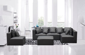 Divani Casa 206 Modern Grey Bonded Leather Sectional Sofa
