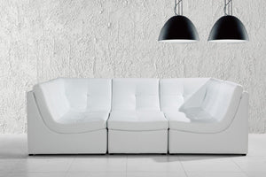 Divani Casa 207 Modern White Bonded Leather Sectional Sofa