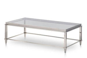 Modrest Agar Modern Glass & Stainless Steel Coffee Table