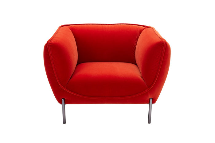 Divani Casa Loma Modern Red Velvet Chair