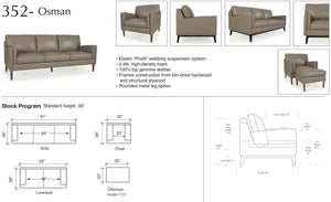 Moroni 352 Osman 3 Seater Modern Leather Sofa * (CURRENTLY ON SHOWROOM FLOOR)
