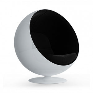 Swivel Egg Chair - Black Fabric Interior / White Matte Fiberglass Shell