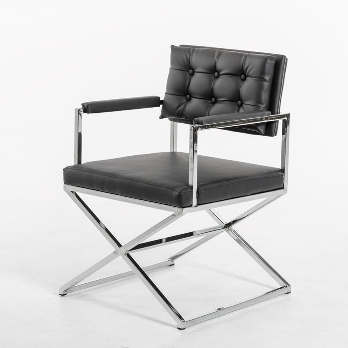 Modrest Cosme Modern Black Leatherette Dining Armchair