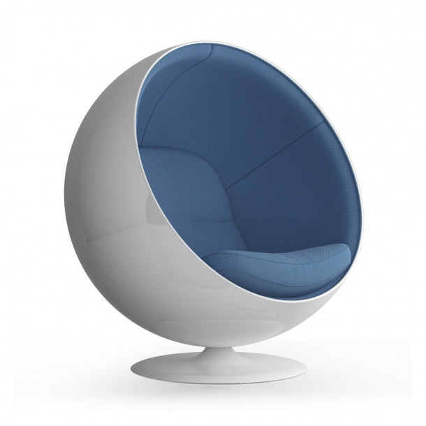 Swivel Egg Chair - Baby Blue Fabric Interior / White Matte Fiberglass Shell * (CURRENTLY ON FURNITURE SHOWROOM FLOOR)