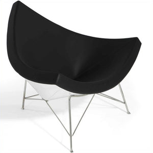 George Nelson Style Black Leather Coconut Lounge Chair CH7143 * (CURRENTLY ON FURNITURE SHOWROOM FLOOR)