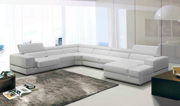 Divani Casa Pella White Contemporary Italian Leather Sectional Sofa