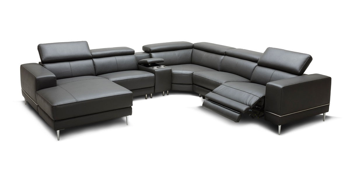 Wade Modern Dark Grey Leather Sectional w/ 2 Electric Recliners ...