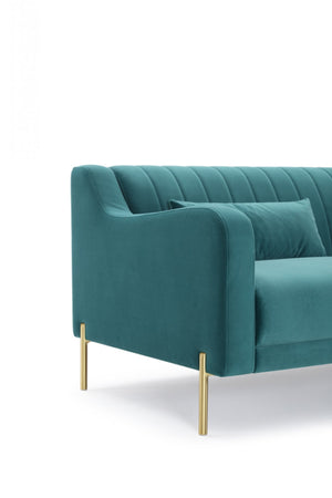Divani Casa Flow Modern Teal Velvet Sectional Sofa w/ Right Facing Chaise