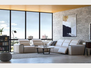 Moroni 583 Le Mans 7 Piece Power Reclining Leather Sectional