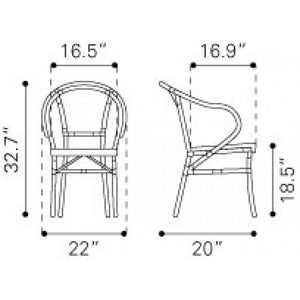 Zuo Paris Black&White Dining Chair
