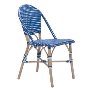 Zuo Paris Navy Blue&White Dining Chair
