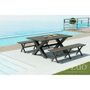 Zuo Bodega Industrial Gray & Brown Dining Bench