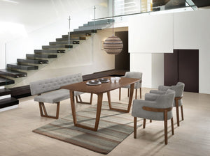 Modrest Jordan Modern Walnut & Grey Dining Set With Bench