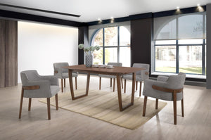 Modrest Jordan Modern Walnut & Grey Dining Set