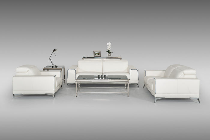 Estro Salotti Bolton Blue and White Italian Leather Sofa Set