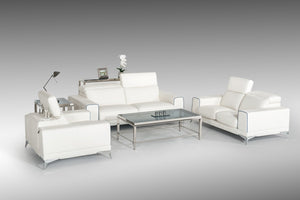 Estro Salotti Bolton Italian Modern White & Blue Leather Sofa Set
