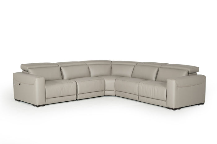 Estro Salotti Thelma Modern Grey Leather Sectional Sofa w/ Electric Recliners